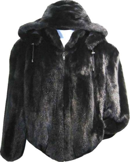 SKU#ASW243 Men's Rabbit Bomber with Detachable Hood Black