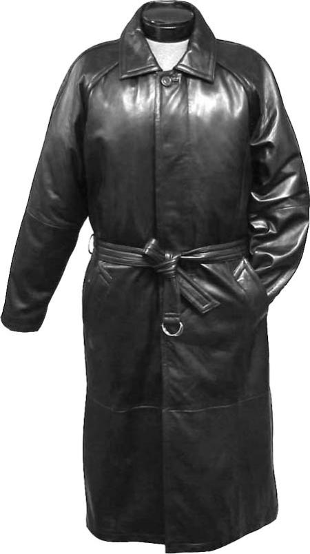 SKU#KJM72 Mens Traditional Single-Breasted Long Coat Black Leather long trench coat ~ Raincoat ~ Duster $475
