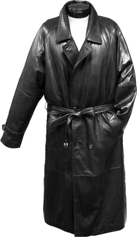 SKU#WQZ613 Mens Traditional Double-Breasted Long Coat with Rear Cape Black Leather long trench coat ~ Raincoat ~ Duster