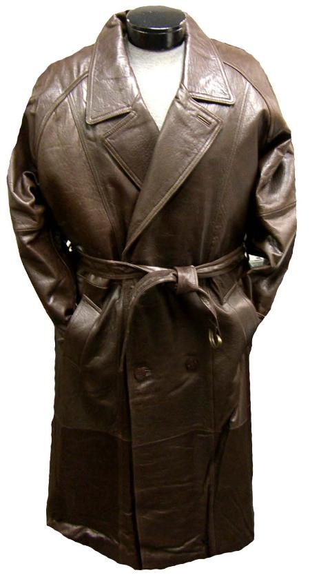 SKU#WAD241 Mens Traditional Double-Breasted Long Coat with Rear Cape Brown Leather long trench coat ~ Raincoat ~ Duster $475