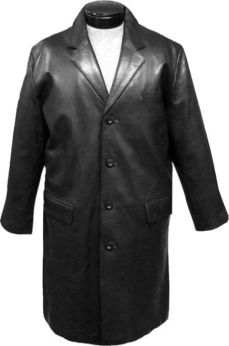 SKU#MQW712 Mens Classic 7/8-Length Topcoat Black Leather long trench coat ~ Raincoat ~ Duster $475
