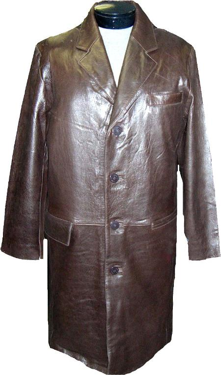 SKU#EAX23 Mens Classic 7/8-Length Topcoats ~ overcoat Brown Leather long trench coat ~ Raincoat ~ Duster $475