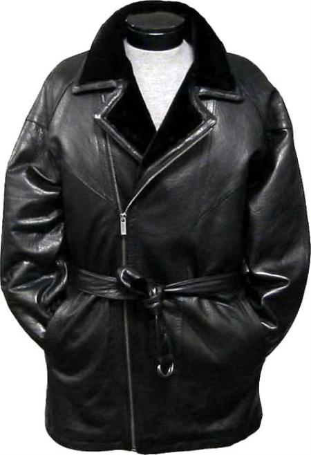 SKU#WQA425 Mens 3/4-Length Coat with Belt High Pile Fur Lined Collar Black Leather long trench coat ~ Raincoat ~ Duster
