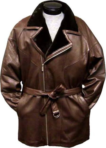 SKU#QED235 Mens 3/4-Length Coat with Belt High Pile Fur Lined Collar Brown Leather long trench coat ~ Raincoat ~ Duster $475