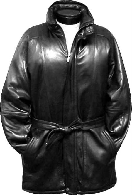 MensUSA.com Mens Classic 3 4 Length Coat with Belt Zip To Top China Collar Black(Exchange only policy) at Sears.com