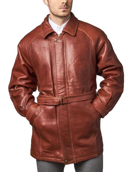 SKU#WQZ521 Mens Classic 3/4-Length Coat with Belt Zip-To-Top China Collar Ranch Leather long trench coat ~ Raincoat ~ Duster