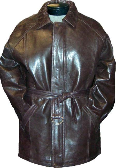 SKU#RCS24 Mens Classic 3/4-Length Coat with Belt Brown Leather long trench coat ~ Raincoat ~ Duster
