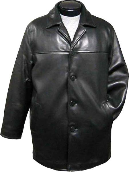 SKU#CAR4325 Mens Traditional 4-Button Carcoat Black Leather long trench coat ~ Raincoat ~ Duster $475