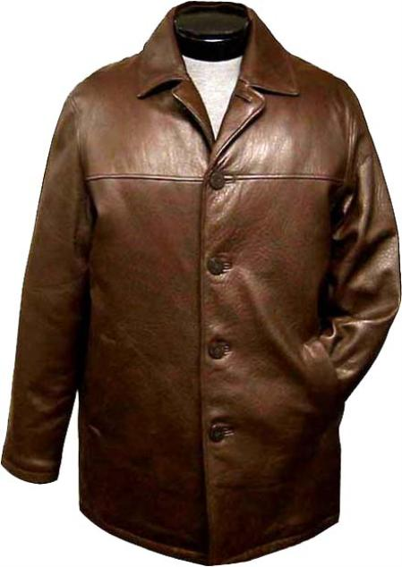SKU#WEB413 Mens Traditional 4-Button Carcoat Brown Leather long trench coat ~ Raincoat ~ Duster $475