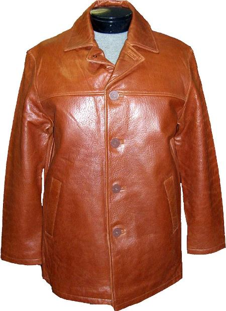 SKU#MAM133 Mens Traditional 4-Button Carcoat Ranch Leather long trench coat ~ Raincoat ~ Duster $475