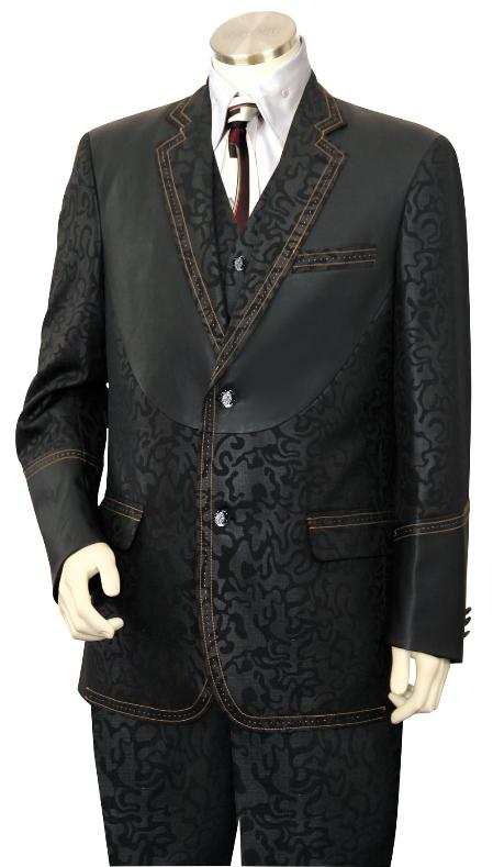 MensUSA.com Mens 3 Piece Fashion Trimmed Two Tone Blazer Suit Tuxedo Fancy Pattern with Leather Trim Black(Exchange only policy) at Sears.com