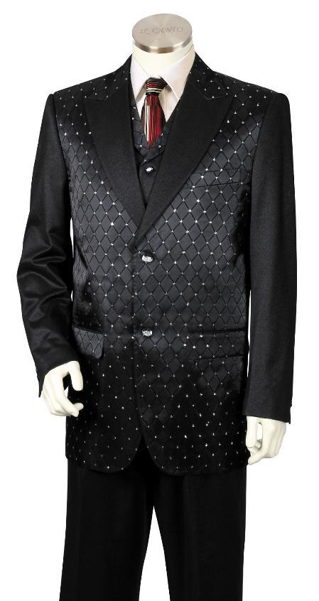 3 Piece Two Tone Blazer/Suit/Tuxedo Fancy Diamond Pattern Black