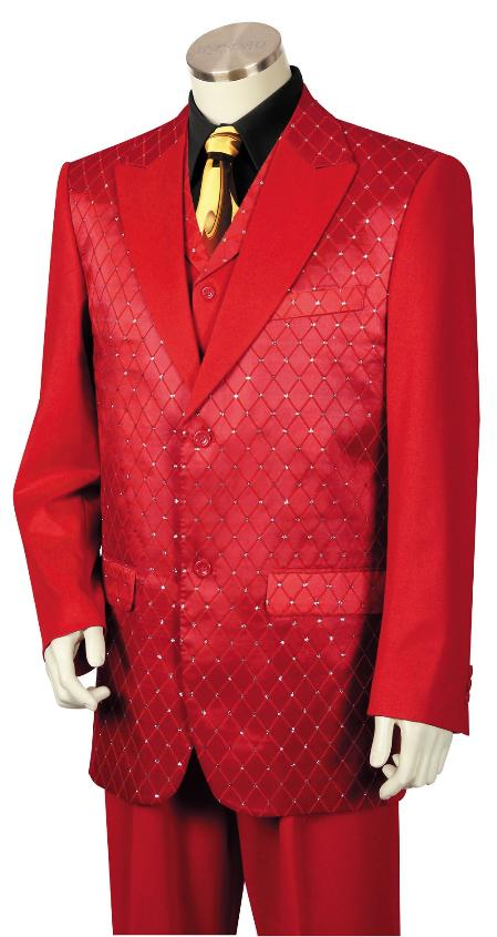 SKU#RED243 Mens 3 Piece Designer Fashion Trimmed Two Tone Blazer/Suit/Tuxedo - Fancy Diamond Pattern Red $214