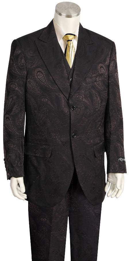 MensUSA.com Mens Fashion 3 Piece Paisley Printed Fashion Suit Wide Leg Pants Black and Dark Brown(Exchange only policy) at Sears.com