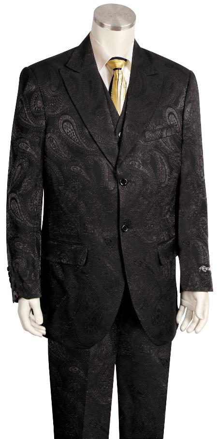 SKU#JGB322 Mens 3 Piece Paisley Printed Fashion Suit Wide Leg Pant Black & Dark Olive $225