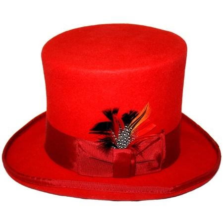SKU#NMB24 Mens Elegant Top Hat - Red $65