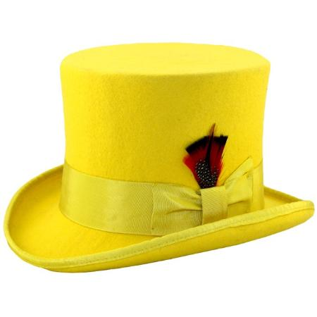 SKU#YLW632 Mens Elegant Top Hat - Yellow $79
