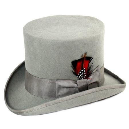 Men's Vintage Style Hats Mens Elegant Top Hat Grey $79.00 AT vintagedancer.com