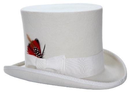 SKU#WHV32 Mens Elegant Top Hat - White
