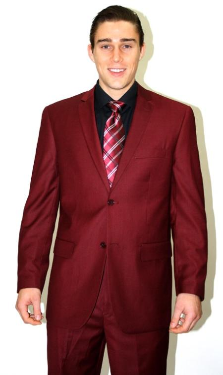 SKU#MMQ253 Mens 2 piece affordable suit online sale - Burgundy ~ Maroon ~ Wine Color $110
