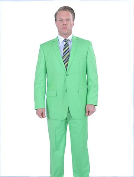 SKU#LMG99 Flamboyant Colorful 2 Piece affordable suit online sale - Lime Green $175