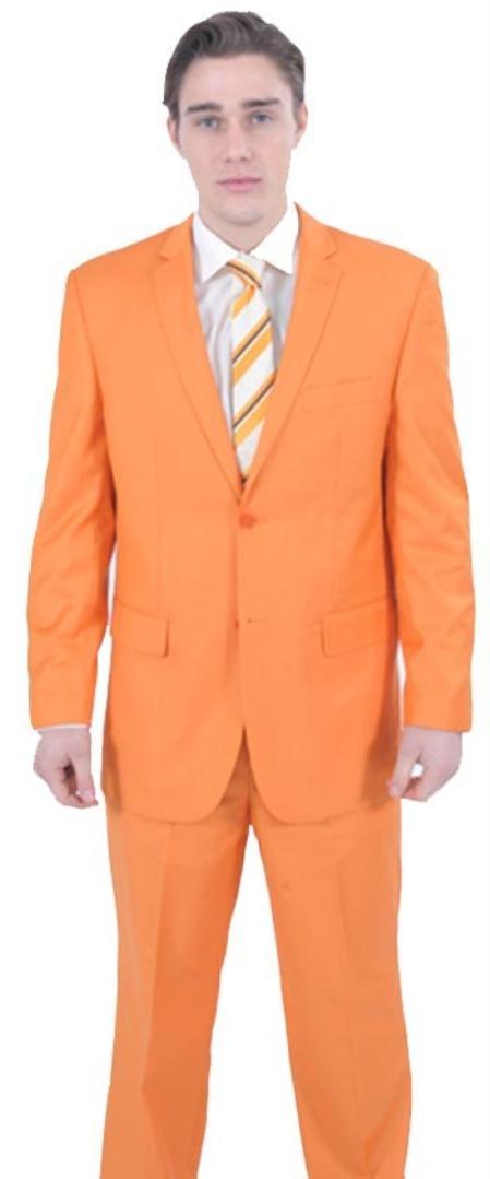 SKU#REC462 Flamboyant Colorful 2 Piece affordable suit online sale - Orange $175