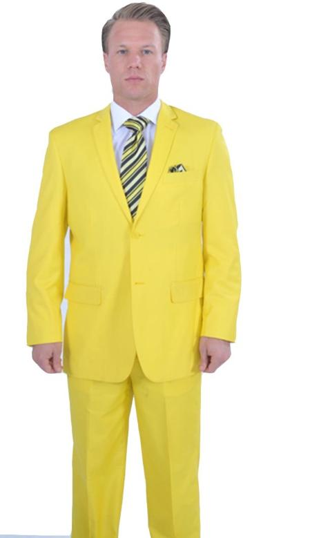 SKU#QAC123 Bright Colored 2 Piece affordable suit online sale - Yellow $175