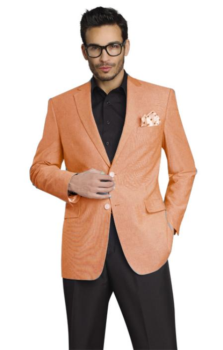 MensUSA.com Mens Stylish Two Button Jacket Peach(Exchange only policy) at Sears.com