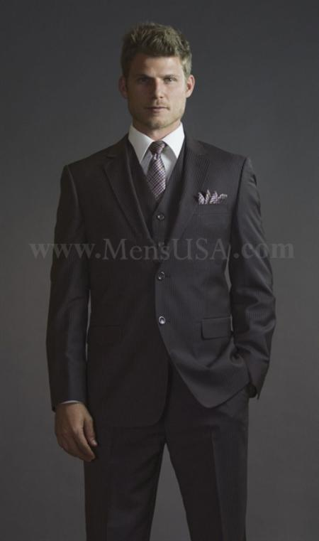 SKU#QDA112 2 Button 3 Piece Brown Pinstripe Fitted affordable suit online sale