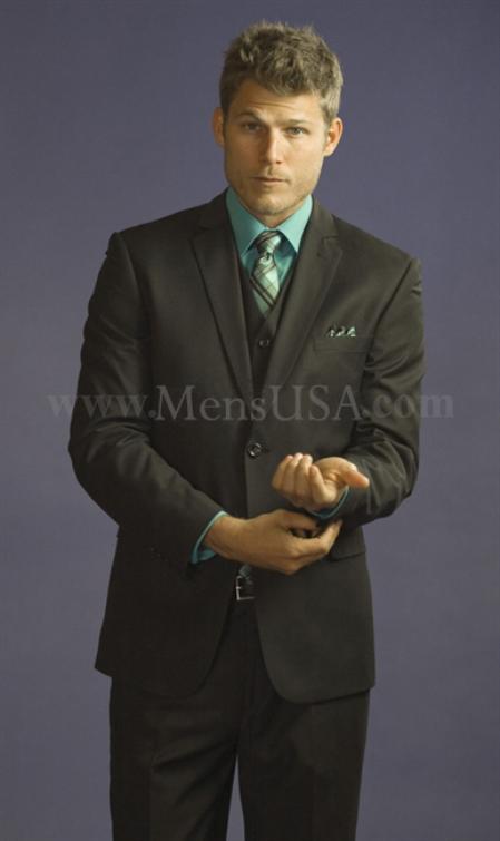 SKU#FSX72 2 Button 3 Piece Black Tone on Tone Slim Fit affordable suit online sale
