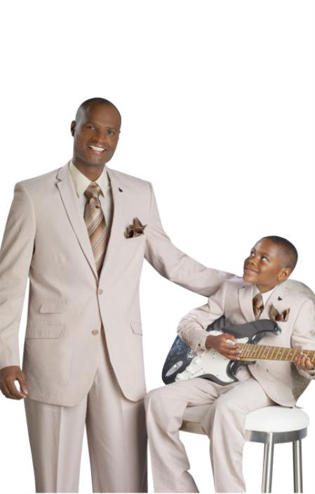 SKU#TAN913 Stylish 2 Button Tan Suit in Mens Suit & Kids-Toddler-Boy Suits Sizes $99