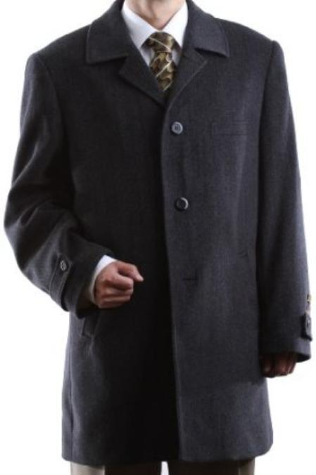 Single Breasted Charcoal Wool Cashmere Three quarter Length Topcoat