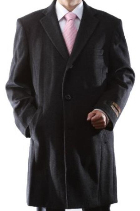 Single Breasted Charcoal Wool/Cashmere Three quarter Length Topcoat