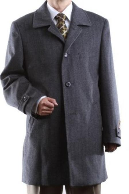 Single Breasted Gray Wool Cashmere Three quarter Length Topcoat