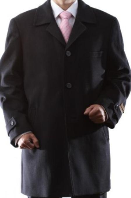 Single Breasted Black Wool Cashmere Three quarter Length Topcoat