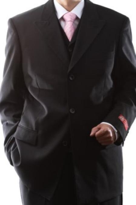 SKU#MSA32 Mens Superior 150s Extra Fine Black 3 pcs Vested Suits with Peak Lapel