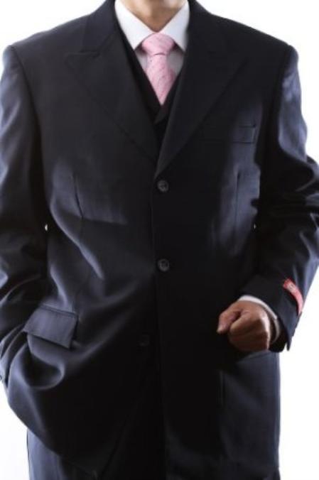 Superiors Extra Fine Navy 3 pcs Vested Dress Suits with Peak Lapel