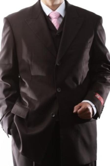 SKU#YTX11 Mens Superior 150s Extra Fine Brown 3 pcs Vested Suits with Peak Lapel $159