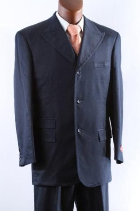 SKU#QFH34 Mens Superior 150s Single Breasted Three Button Blue Vested Suit with Peak Lapel $159