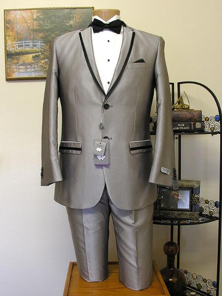SKU#TBH82 Tapered Leg Lower Rise Pants & Get Skinny Grey ~ Gray Slim Cut 2 Button Trimmed Lapel Tuxedo Jacket and Pant Combination