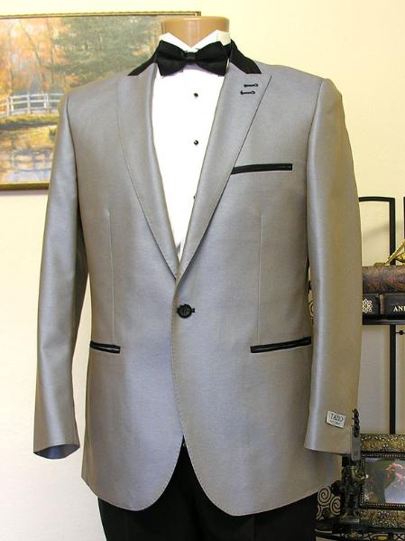 SKU#CSS943 Grey 1 Button Peak Lapel Tuxedo Jacket $199