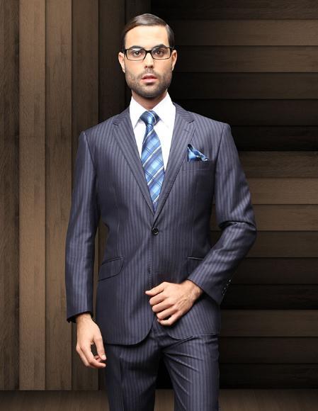 SKU#REW32 TZ_Ber Pick Stitch Collar Slanted Pocket 2 Btn Navy Blue Shadow Stripe ~ Pinstripe Suit