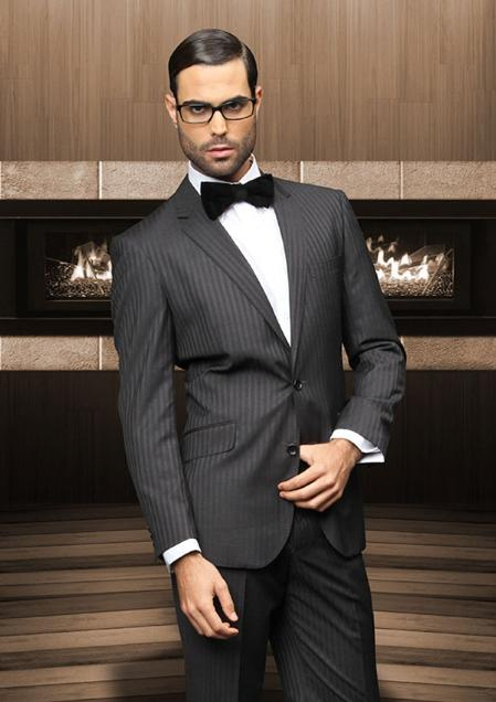 SKU#QW21 TZ_Ber Pick Stitch Collar Slanted Pocket 2 Button Black Shadow Stripe ~ Pinstripe Suit $199