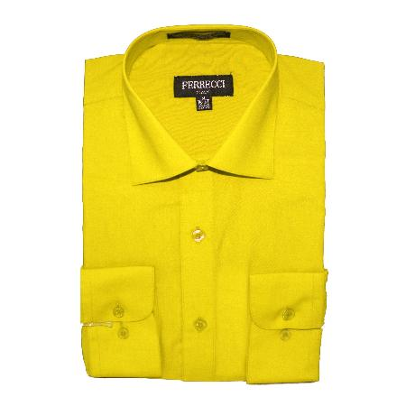 SKU#YEW61 Mens Slim Fit Dress Shirt - Yellow $49
