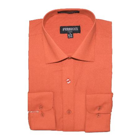 SKU#SAL712 Mens Slim Fit Dress Shirt - Salmon Pink $39
