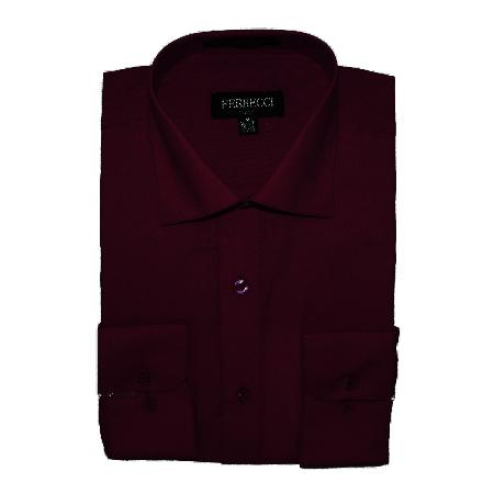SKU#BUR792 Mens Slim Fit Dress Shirt - Burgundy ~ Maroon ~ Wine Color $39