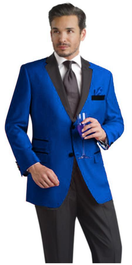 SKU#RYB682 Two Toned Royal Light Blue Two Button Velvet or Suit Fabric (Your Choice) Tuxedo Suit Or Dinner Jacket Black Lapeled
