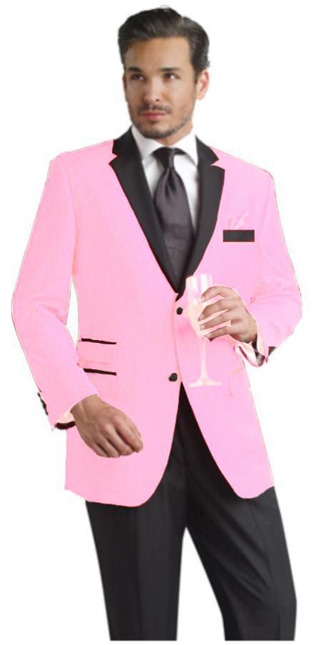 SKU#PNK901 Pink Two Button Notch Party Suit & Tuxedo & Blazer w/ Black Lapel $595