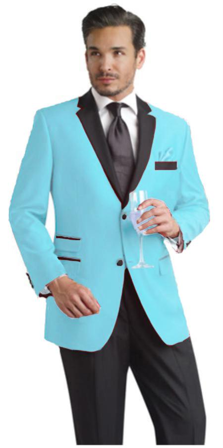 SKU#SBL792 Light Blue ~ Sky Blue Two Button Notch Party Suit & Tuxedo & Blazer w/ Black Lapel $595