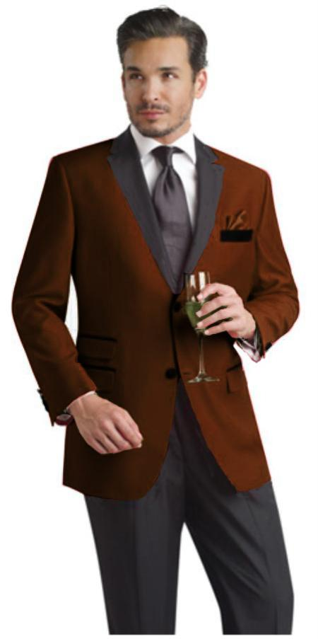 SKU#MQS289 Brown Two Button Notch Party Suit & Tuxedo & Blazer w/ Black Lapel $595